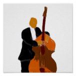 Upright bass player, full body black suit poster