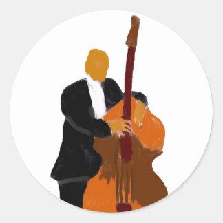 Upright bass player, full body black suit sticker