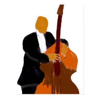 Upright bass player holding a bass painting post cards