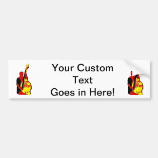 Upright Bass Player Image Design Red and Yellow Car Bumper Sticker