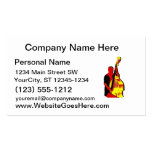 Upright Bass Player Image Design Red and Yellow Double-Sided Standard Business Cards (Pack Of 100)