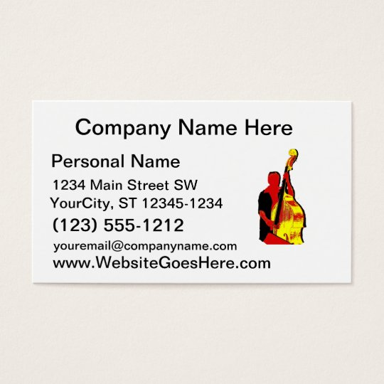 Upright Bass Player Image Design Red and Yellow Business Card