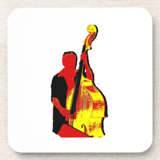 Upright Bass Player Image Design Red and Yellow Beverage Coaster