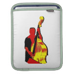 Upright Bass Player Image Design Red and Yellow Sleeves For iPads
