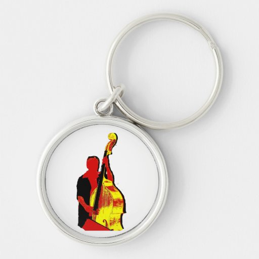 Upright Bass Player Image Design Red and Yellow Keychain