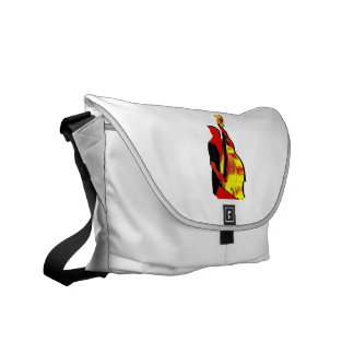 Upright Bass Player Image Design Red and Yellow Courier Bag