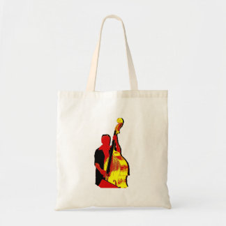 Upright Bass Player Image Design Red and Yellow Tote Bag