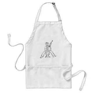 Upright Bass Player Outline Country Style Adult Apron