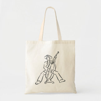Upright Bass Player Outline Country Style Tote Bag