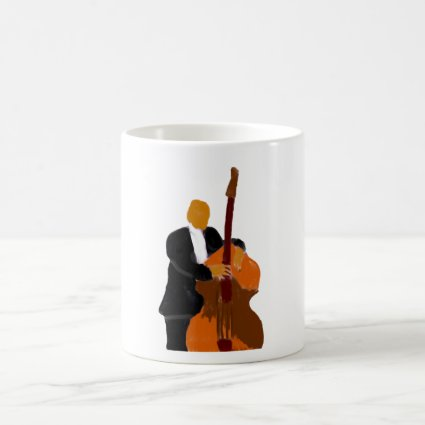 Upright bass player painting black suit coffee mug