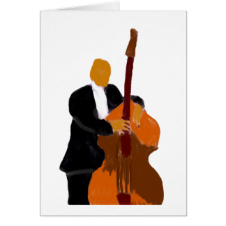 Upright bass player painting Custom Greeting card