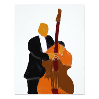"Upright bass player painting 4.25"" x 5.5"" invitation card"