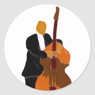 Upright bass player painting wearing black suit classic round sticker