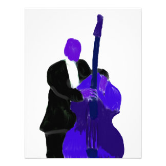 Upright bass player purple version painting personalized invitation