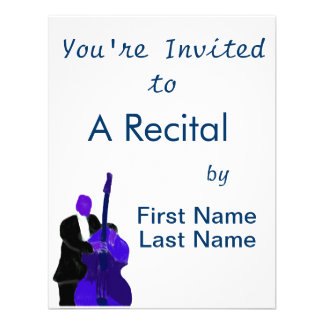 Upright bass player purple version painting invitation