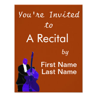 Upright bass player purple version painting invite