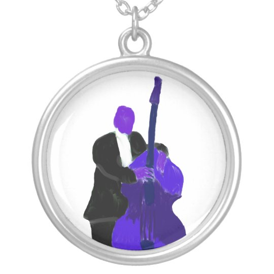 Upright bass player, purple version painting silver plated necklace