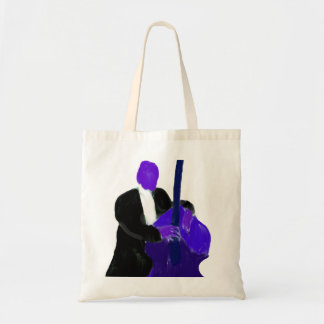 Upright bass player, purple version painting tote bag