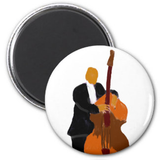 Upright bass player wearing black suit painting 2 inch round magnet