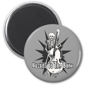 Upright Bass Playing Skeleton 2 Inch Round Magnet