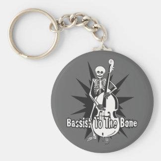 Upright Bass Playing Skeleton Basic Round Button Keychain