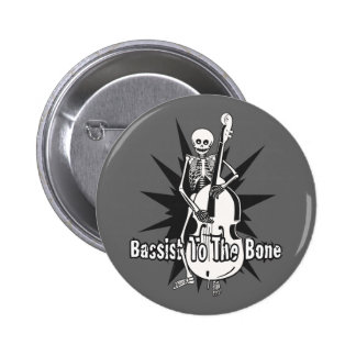 Upright Bass Playing Skeleton 2 Inch Round Button