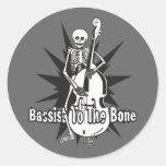 Upright Bass Playing Skeleton Classic Round Sticker