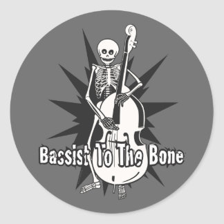 Upright Bass Playing Skeleton Classic Round Sticker