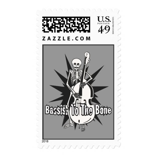 Upright Bass Playing Skeleton Stamps