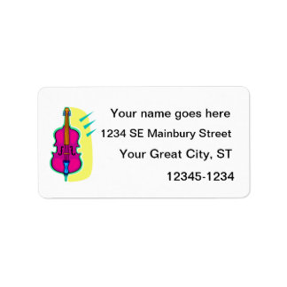 Upright Bass Purple Abstract Graphic Image Label