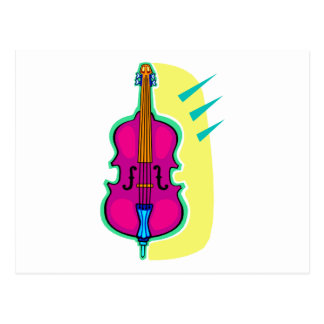 Upright Bass Purple Abstract Graphic Image Postcard