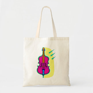 Upright Bass Purple Abstract Graphic Image Tote Bag