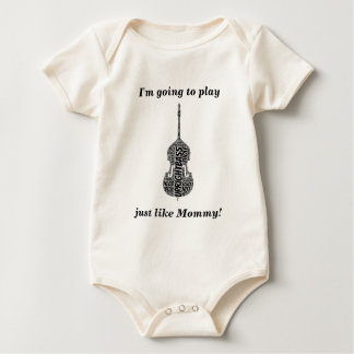 Upright Bass Shaped Word Art Black Text Baby Bodysuit