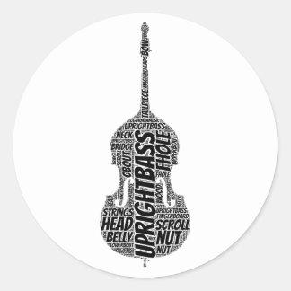 Upright Bass Shaped Word Art Black Text Classic Round Sticker