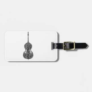 Upright Bass Shaped Word Art Black Text Luggage Tag