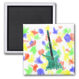 Upright bass, two hands, aqua version for musician 2 inch square magnet