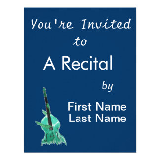 Upright bass two hands aqua version for musician personalized invite