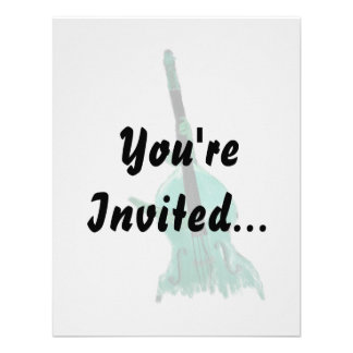 Upright bass two hands aqua version for musician custom invitation