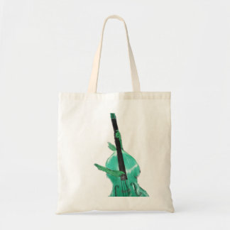 Upright bass, two hands, aqua version for musician tote bag