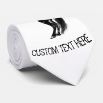 Upright Black Wild Horse - Black and White Drawing Neck Tie