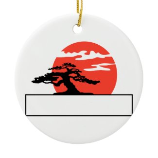 Upright bonsai against sun with box for text ornament