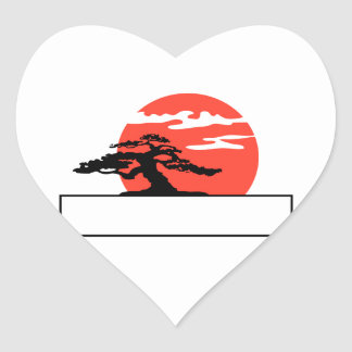 Upright bonsai against sun with box for text heart sticker