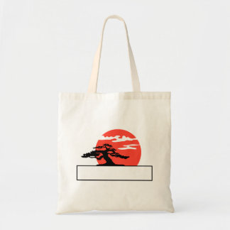 Upright bonsai against sun with box for text tote bag