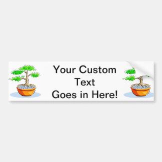 Upright Bonsai Orange Bowl Graphic Image Car Bumper Sticker