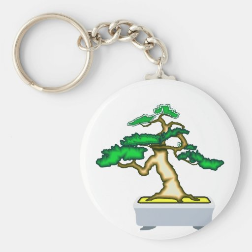Upright Bonsai Sumo in Grey Pot Graphic Image Key Chains