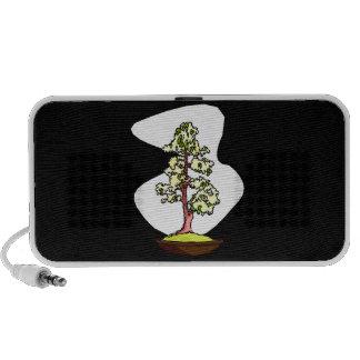 Upright bonsai yellow flowers graphic design mini speakers