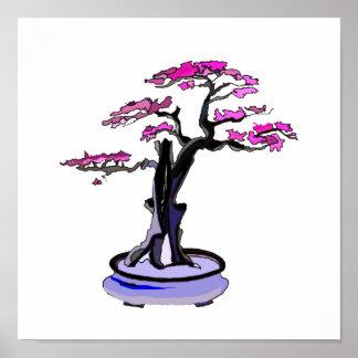 Upright Deadwood Bonsai Purple Poster