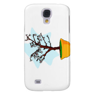 Upright flowering bonsai in yellow bowl graphic galaxy s4 cases