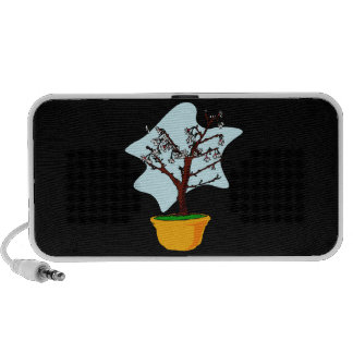 Upright flowering bonsai in yellow bowl graphic PC speakers