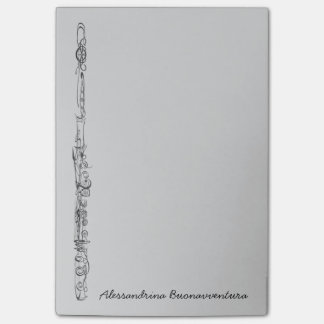 Upright Flute Sketch Customizable Name Post-it Notes